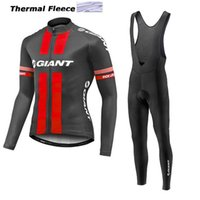 Wholesale Cycling Giant Winter - 2017 giant winter thermal fleece cycling jerseys long sleeve bicycle mtb bike winter cycling clothing sport kits bicycle men wear AK-79