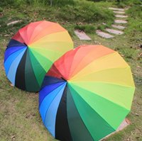 Wholesale Golf Water Proofs - 10pc dhl free Rainbow Umbrella Water Proof Sun Rain 16K Golf Umbrella Golf Automatic Long-handle wn102