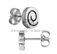 Wholesale Stainless Steel Earrings Surgical - Free Shipping Circle Sign Spiral Stud Earrings 316L Surgical Stainless Steel Women Fashion Stud Earrings Can Be Mix