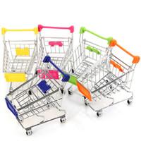 Wholesale Mini Supermarket Cart - Wholesale-Lovely 1 Piece Mini Supermarket Handcart Shopping Utility Cart Toy Phone Jewelry Stand Holder Storage Tools Room Decoration Toys