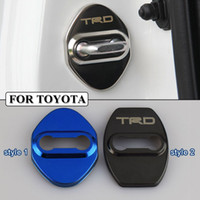 Wholesale Toyota Trd Stickers 3d - Stainless Steel Car-Styling Door lock Cover Car Sticker JDM Fit For Toyota TRD Corolla Avensis Rav4 Auris Yaris Car Styling Accessories