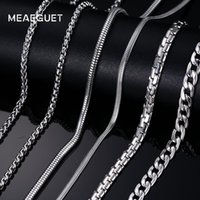 Meaeguet Classic Stainless Steel Collana con catena a maglia a maglia color argento Snake / Box / Hanging / Curb / Flat / Twist Chain da 24 pollici