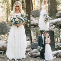 Wholesale plus size dress for fall wedding for sale - Group buy 2018 Western Country Bohemian Forest Wedding Dresses Lace Chiffon Modest V Neck Half Sleeves Long Bridal Gowns Plus Size Dress for Wedding