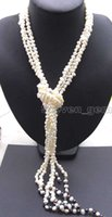 Supper Long 45 '' White 6-7mm Baroque natural Pearl 3 Strands Necklace-5779