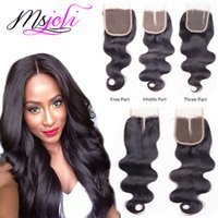Malásia Virgin Hair Weave Closures Body Wave Natural Black 4x4 Lace Closures Three Middle Free Part 6-22 Inches From Ms Joli