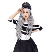 Wholesale Gray Long Cosplay Wig - 100% New High Quality Fashion Picture full lace wigs Women Hot Stone Gray Long Curly Wavy Hair Full Cosplay Lolita Party Wig+Wig Cap