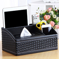 Wholesale Desktop Storage Containers - PU Leather Tissue Box Cover Pen Pencil Remote Control Holder Home Storage Case Container Desktop Collect Desk Organizer