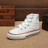 Wholesale Shoes Cute Tops - 2017 kids shoes Boy&girl Children's Canvas Shoes kids Cute Leisure Sports Shoes low & high top Rubber Bottom 7 colors size 23-34