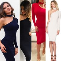 2017 Trendy Fashion Party Kleider Hohe Neck One Schulter Langarm Hülle Knielang Cheap Night Out Club Kleid Sexy