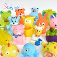 Wholesale Soft Bathtub - 20pcs lot Bath Toys Baby Bathtub Toys Cute Soft Rubber Float Jouet Squeaky Cat Fish Tiger Brinquedo Cartoon Fruit For Bath Time