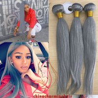 Wholesale Cheap Wholesale Bleach - Grey Virgin Human Hair Weaves 3Pcs Lot Pure Colored Grey Straight Virgin Hair 3 Bundles Cheap Hair Extensions