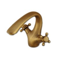 Wholesale Taps Faucet Top Quality - Free shipping top quality solid brass bathroom basin sink mixer tap with dual handle antique basin sink water mixer taps