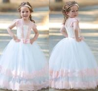 vestido de niña de flores bateau blanco al por mayor-Princesa, rosa y blanco, encaje, flor, niñas, vestidos, bola, gorra, manga, cremallera, espalda hinchada, niños, ropa formal, primera comunión, vestidos, arco