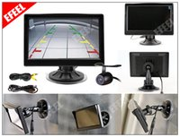 Wholesale Tft Monitor Wire - 5 inch Color TFT LCD Screen Wide View Angle Car Rear View Monitor + Wire Camera