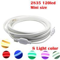 néon lumières latérales achat en gros de-Umlight1688 LED néon bande AC220V 120LED / M 2835 néon flexible LED + prise d'alimentation éclairage de côté de bande décorative extérieure 15m 20m