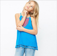 Wholesale Wholesale Embroidered Tank Tops - 2017 Big baby Girls Cotton Tassel Vests Teenager Embroidered Floral Tank tops Junior Spring Summer Fashion Jumper tops children's clothing