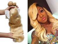 Wholesale Bleach Blonde Color - Bleach Blonde 613 Virgin Hair Brazilian Peruvian Indian Malaysian Body Wave Virgin Human Hair Weave 3 4 Bundles Top 10A Remy Hair Extensions