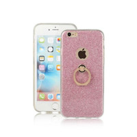 Wholesale Powder Stand - TPU soft shell Case for iphone 6 plus   6s plus with kickstand holder stand 2 in 1 clear Transparent & flash shimmering powder for women