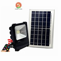 Wholesale 12v Led Floodlight Waterproof - Outdoor Solar LED Flood Lights 100W 50W 30W 70-85LM Lamps Waterproof IP65 Lighting Floodlight Battery Panel Power Remote Contorller China