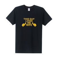Wholesale Pink Husband - Cool Printing This Guy Loves His Wife T Men Funny Shirt Husband Wedding Gift Short Sleeve Cotton O-Neck Tops OT-246