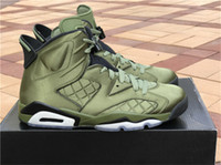 Wholesale Leather Ups Jacket - Air Retro 6 Flight Jacket Basketball Shoes Sneakers Men Nylon Army Green Top Quality With Original Box 2017 Newest Drop Shipping