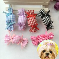 Wholesale Topknot Clip - 20pcs lot Pet dogs hair clip puppy Bows grooming cat candy hairpins bow topknot accessories PD098
