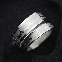 Wholesale heartbeat gifts - Stainless Steel Heartbeat Ring Couple Band Ring Finger Rings band Cuffs for Women Men Fashion Wedding Jewelry Gift