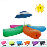 Wholesale Bedding Fabrics Wholesale - Fast Inflatable Air Sleeping Bag Hangout Lounger Air Camping Sofa Portable Beach Nylon Fabric Sleep Bed with Pocket and Anchor HHAK