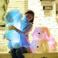 wholesale stuffed dogs pink achat en gros de-Vente en gros- Blue Pink White 3 Color LED Dog Doll Stuff Toy Nightlight Peluche Toy Glow Oreiller Soft Light Up Inductive