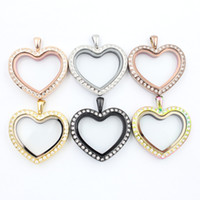 Wholesale Heart Shaped Glass Pendants - Panpan support for blending! heart shape floating locket with crystals 316L Stainless steel magnetic locket pendant free shipping