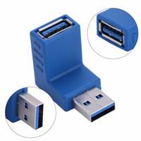 ingrosso cambio del usb-All'ingrosso- 2pcs / set Adattatore Convertitore USB 3.0 Tipo A Maschio a Femmina Sinistra Destra Su Giù Angolo Cavo USB 3.0 Mini Changer Connettori