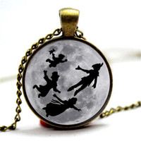 Wholesale Photos Moon - 10pcs lot Peter pan moon Necklace Black Glass Photo Cabochon Necklace