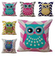 Wholesale Colorful Bedding - Colorful Carton Owl Pillow Case Cushion cover Linen Cotton Throw Pillowcases sofa Bed Pillow covers Drop shipping PW423