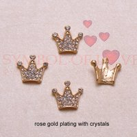 Wholesale Crown Embellishments Wholesale - (J0725)15mmx13mm crown rhinestone metal embellishment,silver or rose gold plating,flat back,pearl or crystals,100pcs lot
