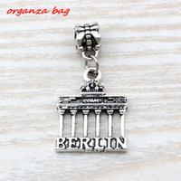 Wholesale Gate Bracelets - MIC 100pcs Dangle Ancient silver alloy Brandenburg Gate Berlin Landmark TripCharms Big Hole Beads Fit European Charm Bracelet Jewelry A-106