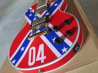 Wholesale Drop Guitar - Custom Shop ZAKK WYLDE REBEL FLAG Electric Guitar Black Speed Knobs Gold Hardware Drop Shipping