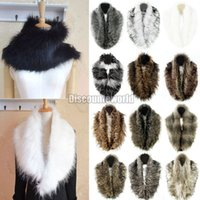 Wholesale Rabbit Shrug - Wholesale-2015 Fashion New Women Girl Shrug Winter Faux Rabbit Fur Fluffy Scarf Collar Shawl Neck Wrap 14 Colors Style