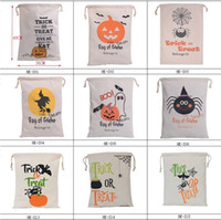 Wholesale Christmas Socks Decorations - 2017 newest Halloween Large Canvas bags cotton Drawstring Bag With Pumpkin, devil, spider, Hallowmas Gifts Sack Bags 6styles 2736