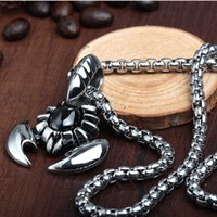 Wholesale Titanium Steel Mens Necklace Chain - 2017 New Hot Mens Necklaces Fashion Jewelry link chain scorpion pendant 316L Stainless steel Titanium Steel necklace for men ,ky-509