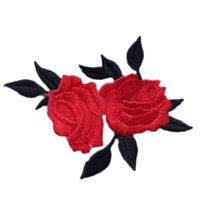 Wholesale Iron Fabric Flowers - Cute Colorful Rose Applique Flowers Patch Embroidered Sew Iron on Clothes Bags Handmade DIY Craft Ornament Fabric Sticker