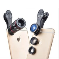 Wholesale Intelligent Fish - Intelligent mobile phone External lens 10 focal length fish eye Wide angle macro four in one package zpg208