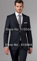 Wholesale italian wool men suit - Wholesale- Free shipping Italian high quality worsted 100% pure Wool suit Men Business suit Two Buttons Essential Navy Suit