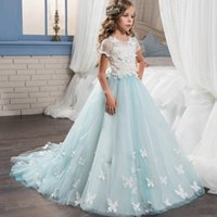 Wholesale Girls Baby Wedding Pageant Dress - Princess 2017 Lace Tulle Flower Girls Dresses Short Sleeves A Line Baby Girl Birthday Party Christmas Pageant Dresses Girl Pageant Gowns