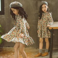 Wholesale Girls Dress Patterns Free - Vintage Bohemian Flower Girl Dresses Jewel Neck Long Sleeves Cotton A Line Little Girls Dress With Floral Pattern Free Shipping