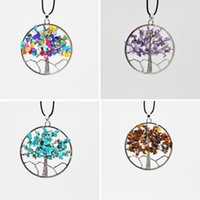 Wholesale Natural Chip Necklace - 2017 New Women Rainbow 7 Chakra Amethyst Tree Of Life Quartz Chips Pendant Necklace Multicolor Wisdom Tree Natural Stone Necklace