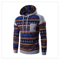 Wholesale National Wind - Hoodies for Men Autumn&winter Fashion National Wind Stitching Printing Men's Sports Keep Warm Hooded Hoodies US Size:XS-L