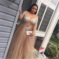 Wholesale Diamond Long Dresses - Sexy Sparkly Plus Size Evening Dresses Long Sleeve Off Shoulder Diamonds Beads Tulle Floor Length 2017 Party Dress Custom Size