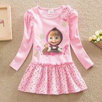 Wholesale Girl Neat Dress - Wholesale- NEAT 2016 Baby girl clothes lovely pink pattern cotton girl dress round collar of cartoon characters kids dress for girl H5306