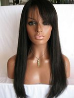 Freeshipping Yaki Straight Lace Front Humain Hai Perruques Pour Femmes Noires # 1b 100% Chinois Virgin Hair Lace Wig With Bangs Glueless perruque