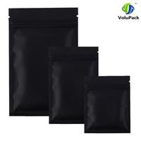Wholesale Wholesale Black Ziplock Foil Bags - High quality 12 X 18CM,100 X Metallic Mylar ziplock bags flat bottom Black Aluminum foil small zip lock plastic bags